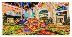 Bellagio Conservatory Fall Peacock Display Side View Wide 2017 Beach Sheet