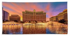Bellagio Fountains Warm Sunset 2 To 1 Ratio Beach Towel