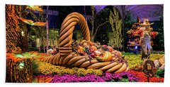 Bellagio Harvest Show Basket And Scarecrow 2016 Beach Towel by Aloha Art