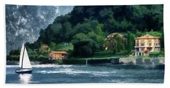 Beach Towel featuring the photograph Bellagio Villa by Jim Hill