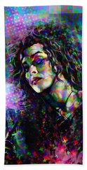 Bellatrix Lestrange Halftone Portrait Beach Towel