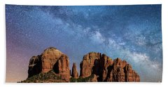 Below The Milky Way At Cathedral Rock Beach Towel