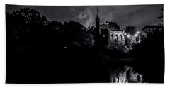 Belvedere Castle In Central Park At Night Beach Towel