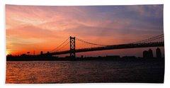 Ben Franklin Bridge Sunset Beach Towel