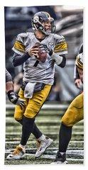 Ben Roethlisberger Pittsburgh Steelers Art Beach Towel by Joe Hamilton