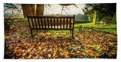 Bench With Autumn Leaves Beach Towel