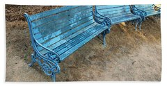 Beach Sheet featuring the photograph Benches And Blues by Prakash Ghai