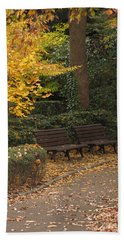 Benches In The Park Beach Towel