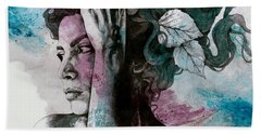 Beneath Broken Earth - Street Art Drawing, Woman With Leaves And Tattoos Beach Towel