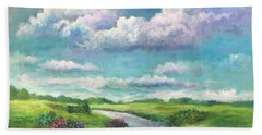 Beneath The Clouds Of Paradise Beach Towel by Randy Burns