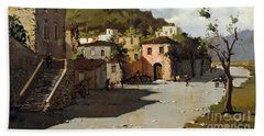 Beach Towel featuring the painting Provincia Di Benevento-italy Small Town The Road Home by Rosario Piazza