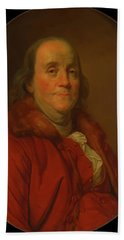 Beach Towel featuring the painting Benjamin Franklin by Workshop Of Joseph Duplessis