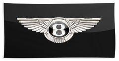 Bentley - 3 D Badge On Black Beach Towel