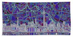 Berlin City Skyline Abstract 3 Beach Towel by Bekim Art