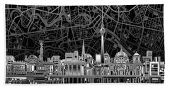 Berlin City Skyline Abstract 4 Beach Towel by Bekim Art