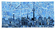 Berlin City Skyline Abstract Blue Beach Towel by Bekim Art