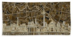 Berlin City Skyline Abstract Brown Beach Towel by Bekim Art