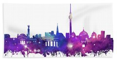 Berlin City Skyline Galaxy Beach Towel by Bekim Art