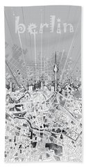 Berlin City Skyline Map 2 Beach Towel by Bekim Art
