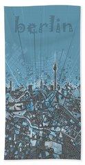 Berlin City Skyline Map 3 Beach Sheet by Bekim Art