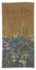 Berlin City Skyline Map 4 Beach Towel by Bekim Art