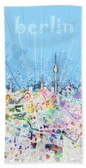 Berlin City Skyline Map Beach Towel by Bekim Art
