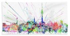 Berlin City Skyline Watercolor 2 Beach Sheet by Bekim Art