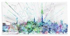 Berlin City Skyline Watercolor 3 Beach Sheet by Bekim Art