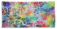 Berlin Map Watercolor Beach Towel by Bekim Art