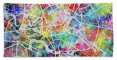Berlin Map Watercolor Beach Sheet by Bekim Art