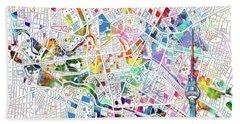 Berlin Map White Beach Sheet by Bekim Art