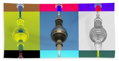 Berlin Television Tower Collage Beach Towel