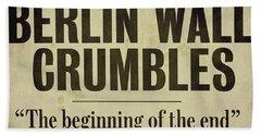 Berlin Wall Newspaper Headline Beach Towel