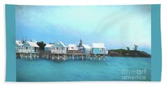 Bermuda Coastal Cabins Beach Towel by Luther Fine Art