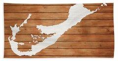 Bermuda Rustic Map On Wood Beach Towel