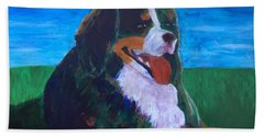 Beach Towel featuring the painting Bernese Mtn Dog Resting On The Grass by Donald J Ryker III