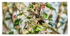 Beach Towel featuring the photograph Berry Merry Mockingbird by Kerri Farley
