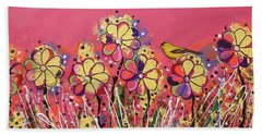 Berry Pink Flower Garden Beach Towel