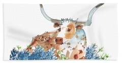 Bessie In The Bluebonnets Watercolor Painting By Kmcelwaine Beach Towel