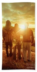 Best Friends Greeting The Sun Beach Towel by Jorgo Photography - Wall Art Gallery