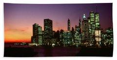 Beautiful New York Sunset Skyline Beach Towel by Art America Gallery Peter Potter