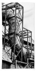 Bethlehem Steel - Black And White Industrial Beach Sheet by Bill Cannon