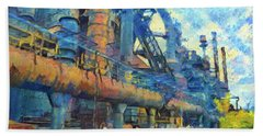 Bethlehem Steel Mill Watercolor Beach Sheet by Bill Cannon