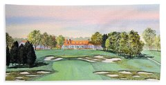 Beach Towel featuring the painting Bethpage State Park Golf Course 18th Hole by Bill Holkham