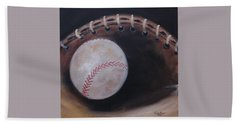 Beach Towel featuring the painting Between Innings by Judith Rhue