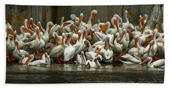 Bevy Of White Pelicans Beach Sheet