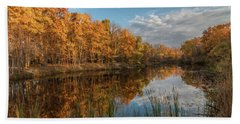 Beyer's Pond In Autumn Beach Towel