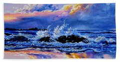 Beach Sheet featuring the painting Beyond The Rocks by Hanne Lore Koehler
