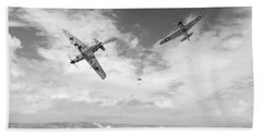 Beach Towel featuring the photograph Bf109 Down In The Channel Bw Version by Gary Eason