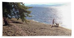 Beach Towel featuring the photograph Bicycle Boy And Dog by Felipe Adan Lerma